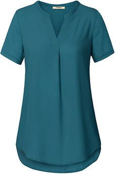 Timeson Chiffon Blouse, Women& Short Sleeve Chiffon Blouse for Office Wear V Neck Elegant Blouse Shirts Tops Dark Cyan Large Blouse Styles, Blouse Designs, Black Chiffon Blouse, Sheer Chiffon, Stitch Fix Outfits, Dressy Tops, Tops For Leggings, How To Roll Sleeves, Shirt Blouses