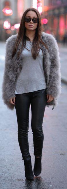 Grey Faux Fur Coat Details Info  Beauty & Fashion Fur Sale