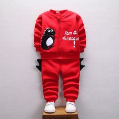 23.22$  Watch now - http://alieux.shopchina.info/go.php?t=32755235596 - 2016 winter boys girls clothing set toddler hooded thick fleece long sleeve cartoon dinosour printed hoodies and pant boutique 23.22$ #aliexpress