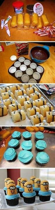"""How to Make Despicable Me Minion Cupcakes Ok, well these are sooo cute! However, the minions laying down have 2 layers of """"smartee eyes"""" and the minion cupcakes sitting up only have one. Just Desserts, Delicious Desserts, Dessert Recipes, Yummy Food, Cake Recipes, Oreo Desserts, Minion Birthday, Minion Party, Birthday Ideas"""