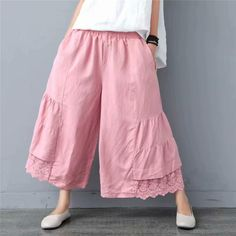 Wide Leg Linen Pants, Skirt Pants, Capri Leggings, Holiday Fashion, Cotton Linen, Pink White, Going Out, How To Look Better, Thighs