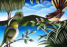 NZ Birds & Landscape - TashArt New Zealand Art, Nz Art, Kiwiana, Rock Art, Art Images, Art For Kids, Illustration Art, Pottery, Birds