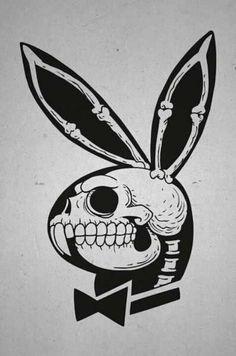 Playboy Bunny X-Ray Skull. Playboy Bunny Tattoo, Bunny Tattoos, Skull Tattoos, Playboy Logo, Hase Tattoos, Tattoo Drawings, Art Drawings, Tattoo Sketches, Skull Art