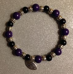 Ceramic Purple and Black Beads w/Silver Spacer