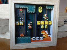 Super Mario World 002 Mini - Diorama - Shadow Box - Pixel Art - Super Nintendo - Super Famicom - Shadow Box - - Mario Crafts, 3d Pokemon, Retro Game, Diy Shadow Box, Girls Dollhouse, Super Mario World, Super Nintendo, Game Room Decor, Gamer Room
