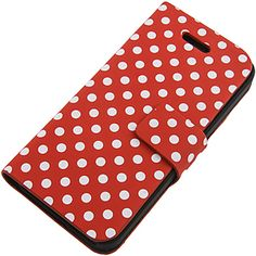 Magnetic Flap Case for #iPhone 5, #PolkaDots Red $11.99 From #DayDeal