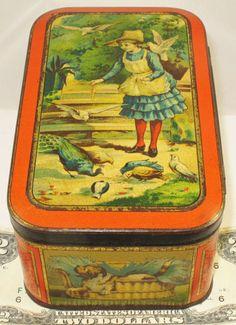 CARRS-PETS-BRITISH-BISCUIT-TIN-c1887-GIRL-FEEDING-BIRDS-RABBITS-CATS-DOG