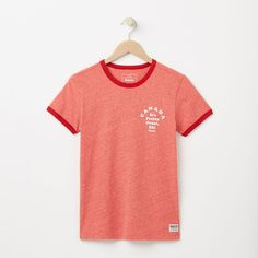 Roots-Women Graphic T-shirts-Maple Canada Ringer T-shirt-Sage Red Mix-A