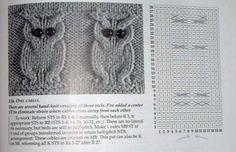 Tohoto motýlka jsem si kdysi dávno vytiskla z netu, bohužel už nevím kde. Baby Knitting Patterns, Owl Patterns, Knitting Charts, Knitting Stitches, Stitch Patterns, Cable Knitting, Knitting Socks, Hand Knitting, Knitted Owl