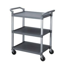 Excellante 33-1/2-Inch by 16-1/8-Inch by 37-Inch, 3-Tier Bus Cart, Grey by Excellanté. $121.62. 3 tiers, each tier can be used for a separate duty (eg Top for unclean plates/bowls, middle for towels, and bottom for table top sanitizer sprays). Made out of plastic and aluminum for light weight and durability. 3-tier bus cart is perfect for restaurants, buffets, or any eatery where clean up is necessary and needs to be done quickly and efficiently. Perfectly racks both ...