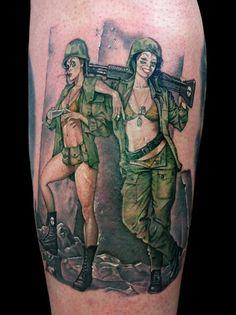 Army Pin Up Girls Tattoo - David Corden http://pinupgirlstattoos.com/army-pin-up-girls-tattoo/