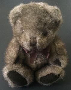 A&A Brown Fuzzy Sitting Teddy Bear Plush Stuffed Animal Toy Ribbon Collectible #AA #AllOccasion