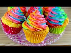 How to Make easy Rainbow Swirl Funfetti Cupcakes | From Scratch Recipe | CarlyToffle - YouTube