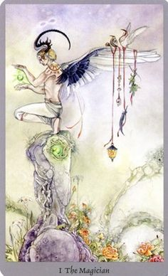 The Magician, Shadowscapes Tarot:  Meaning:Originality, creativity, skill, will-power, self-confidence, dexterity and slight of hand. It is about grasping the unseen around you, and harnessing it to become reality. This Magician draws upon relics representative of the elements: Fire in his lantern, the voice of the Sea in the shell, a breath of Wind in the raven's feather, and Earth from the leaves.