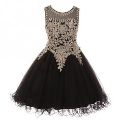 Big Girls Black Gold Coiled Lace Studded Illusion Junior Bridesmaid Dress 8-16