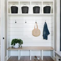 Let these mudroom entryway ideas welcome you home. Instantly tidy up and organize your hallway or entryway with industrial mudroom entryway. Shiplap Trim, White Shiplap, Mudroom Cabinets, Built In Cabinets, Front Hall Closet, White Shaker Cabinets, Board And Batten, Floating, Built In Bench