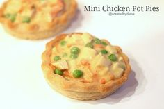 Mini Chicken Pot Pies @createdbydiane I heated up some leftover chicken with some peas and grated carrot and made a thick chicken sauce, and piled it into the baked shells, so it's not exactly chicken pot pie, but everyone loved this quick simple dinner. I'll be making single serving chicken pot pies again and by request will be making them with a double crust (top crust).