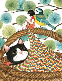 Time for Bed, Miyuki by Roxane Marie Galliez, illustrated by Seng Soun Ratanavanh Time for Bed, Miyuki by Roxane Marie Galliez, illustrated by Seng Soun Ratanavanh Art And Illustration, Korean Illustration, Illustrations And Posters, Knit Art, Photo Chat, Art Japonais, Cat Drawing, Japanese Art, Drawings