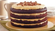 Enjoy this gluten free pumpkin and chocolate torte made using Betty Crocker® cake mix. A wonderful dessert topped with almonds.