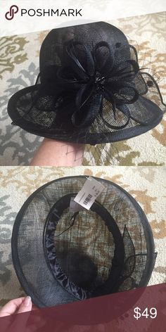 Off to the Races Hat Beautiful NWT black hat made of 100% sinamay straw. The mesh is so breathable you can feel the breeze through your hair. Perfect for a warm day at the races! Triple Crown season is upon us - flaunt this bad boy at the Kentucky Derby and beyond. Flourish design includes netting, feathers and beaded detail. Back rim flips up. Interior rim is lined with satin and has a string to adjust for size.  Not Goorin Bros, listed for visibility. Goorin Bros Accessories Hats