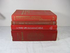 Vintage RED BOOKS Instant Collection Set of 4   by LavenderGardenCottag etsy