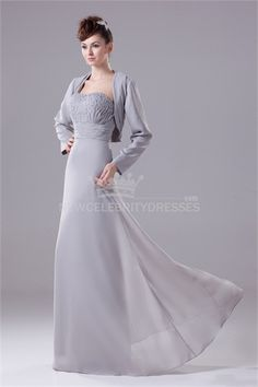 Silver Chiffon Floor-Length Long Sleeves Mother of the Bride Dress