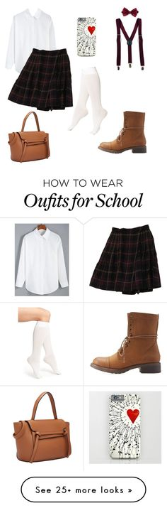 """""""School Uniform"""" by christina-clendenin on Polyvore featuring Charlotte Russe, DKNY, women's clothing, women, female, woman, misses and juniors"""