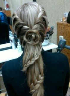 A beautiful braid with a little of everything....Rosette, Double Side French Braid, Staircase Braid