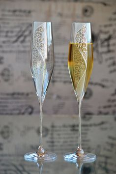 Wedding champagne glasses hand painted wedding by PolinikaGlass