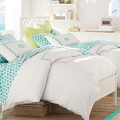 Embroidered Border Duvet Cover   Sham #pbteen