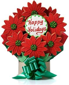 images of cookie bouquets | Holiday Poinsettias Cookie Gift Bouquet