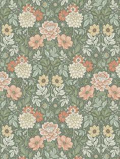 Beach Wallpaper, Green Wallpaper, Retro Wallpaper, Colorful Wallpaper, Vintage Floral Wallpapers, Feature Wallpaper, Floral Drawing, Fashion Wallpaper, Floral Patterns