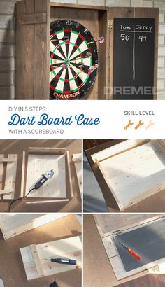 Here's an easy DIY wood project: Build your own dart board cabinet with a scoreboard. Talk about a great Father's Day gift! It's also the perfect game room decor.