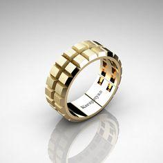 Mens Modern 14K Yellow Gold Gear Solid Wedding Band G10164S-14KYG