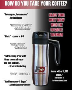 How do you take your coffee? Enjoy your daily brew with the FD Thermos! To see how you can get one visit www.fastenersdirect.com #fastenersdirectnews #fasteners #fastenersdirectrewards #FDcoffeethermos #coffee #FREE #freecoffeethermos
