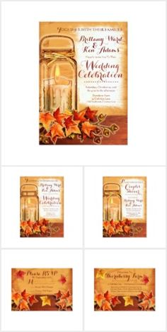 Fall Wedding Invitations Suite from VintageWeddingInvitation.com  Fully Customizable by you!
