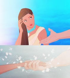 Pocahontas and John Smith, when their hands touched...<3