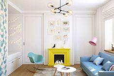 Разноцветные акценты в дизайне однокомнатной квартиры