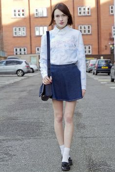 Kenzo Sweatshirt, Gap Shirt, American Apparel Skirt, Kurt Geiger Satchel