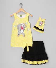 Take a look at this Yellow & Black Skirt Set & Doll Outfit - Girls by Dollie & Me on #zulily today!
