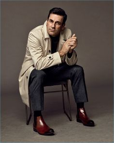 Jon Hamm dons a trench coat and boots for Emidio Tucci's fall-winter 2017 campaign.