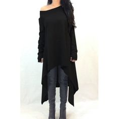 $10.99 Casual Skew Neck Solid Color Long Sleeve Asymmetric Dress For Women