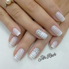 32 New Acrylic Nail Designs Ideas to Try This Year - Page 31 of 32 White and gold shiny nails white and glitter are the perfect complement. Don't just trust us, look at it yourself. These silver-white shiny nails are Acrylic Nail Designs, Nail Art Designs, Acrylic Nails, Solid Color Nails, Nail Colors, Pastel Colors, Bridal Nails, Wedding Nails, Wedding Art