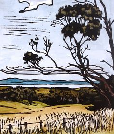 Twisted Tree - Linocut Print - Hand Painted - Tasmanian Scene