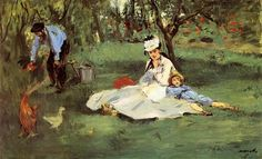The Monet family in their garden at Argenteuil, 1874 - Edouard Manet