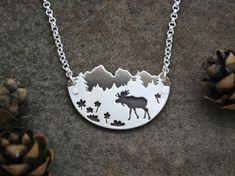 Mountain Range Moose Necklace  Sterling Silver by GatherAndFlow