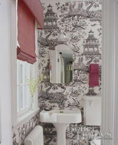 Chinoiserie  toile wallpaper, black & white, porcelain pedestal sink