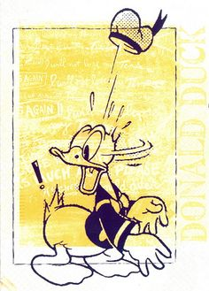 Disney - Donald Duck - yellow (by 9teen87's Postcards)    interior of backpack