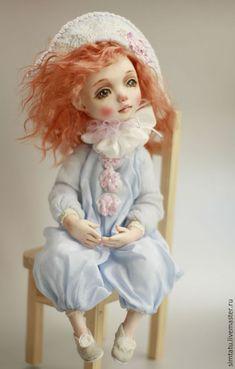 Коллекционные куклы ручной работы. Ярмарка Мастеров - ручная работа. Купить Клоунесса Глаша. Handmade. Голубой, клоунесса, Ливинг долл
