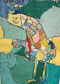 Arts plastiques enfants ,collage d'après Gaston Chaissac